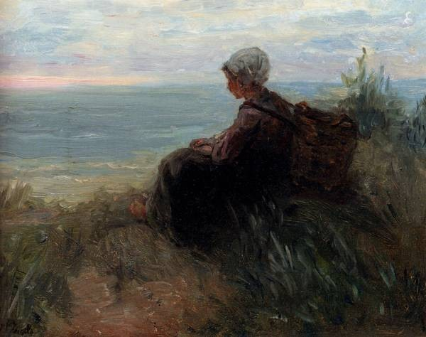 A Fishergirl On A Dunetop Overlooking The Sea
